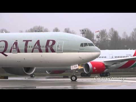 Soaking Wet Qatar Airways Boeing 777-300ER Delivery Flight @ KPAE Paine Field