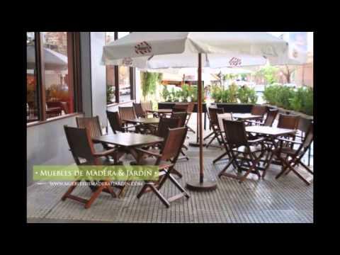 Sillas para bar muebles de madera y jard n com youtube for Sillas plegables jardin
