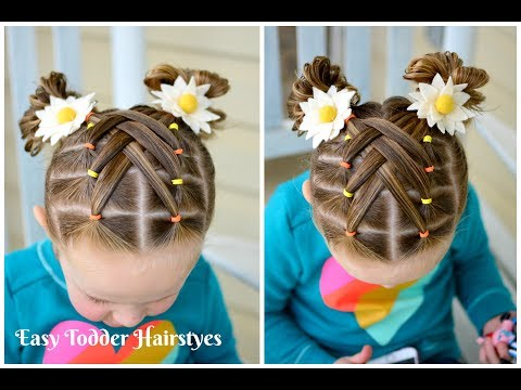 Cascading Weaved Elastics Little Girl Hairstyle Youtube