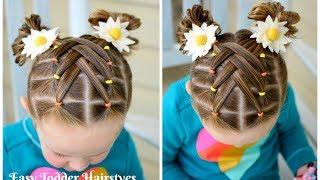 Cascading Weaved Elastics, Little Girl Hairstyle