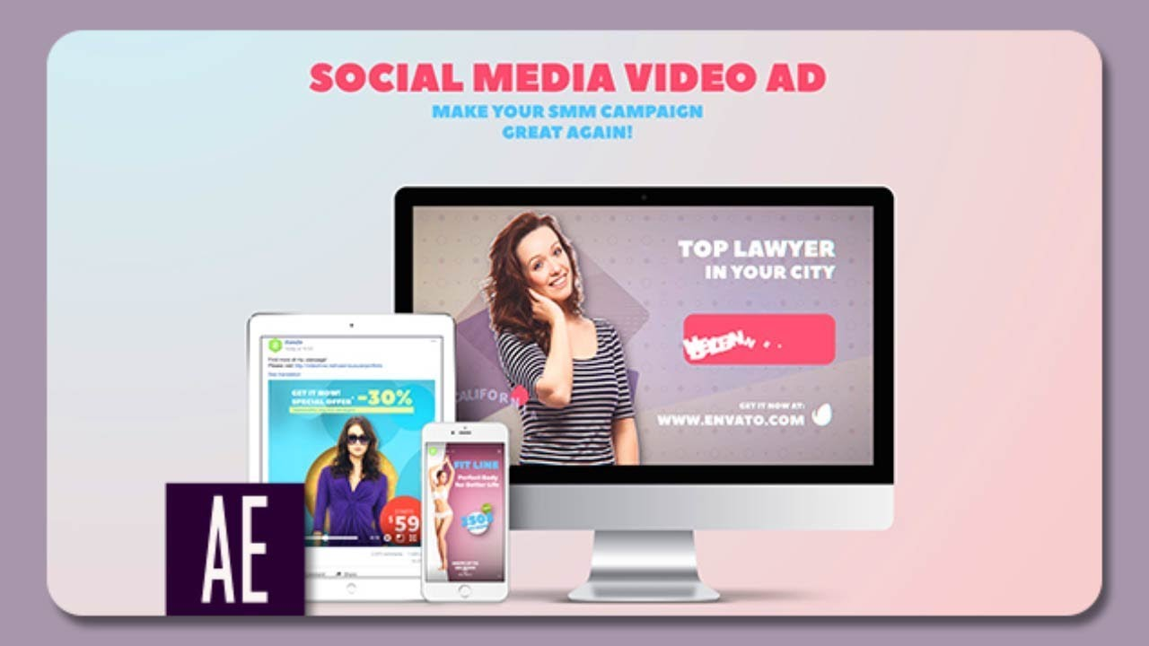 Social Media Video Ad After Effects Template YouTube - Awesome after effects website template design