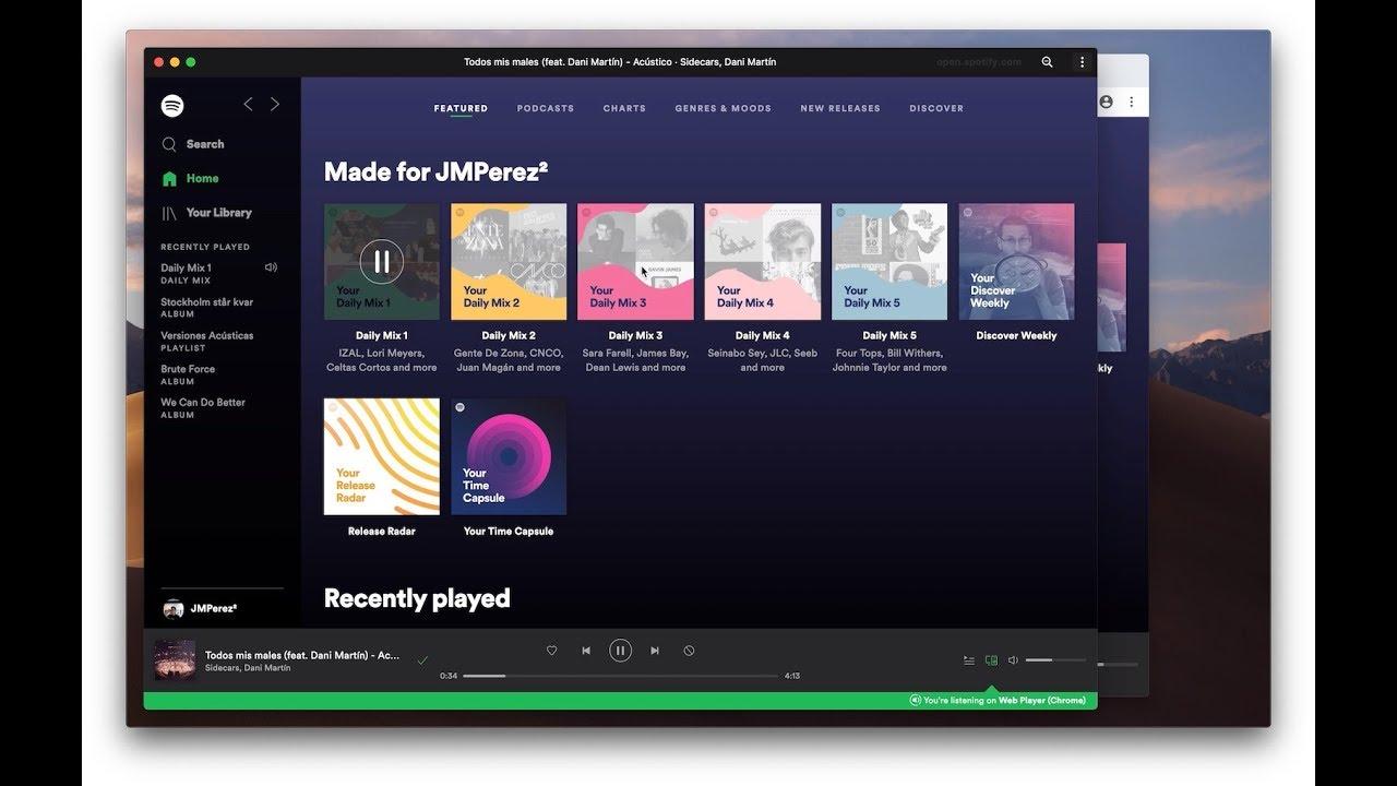 Spotify Progressive Web App (PWA) on Mac