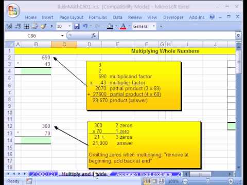 how to work out whole number interger in excel