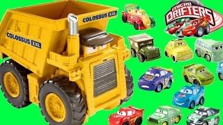 DISNEY PIXAR CARS COLOSSUS XXL DUMP TRUCK EATS MICRO DRIFTERS!!