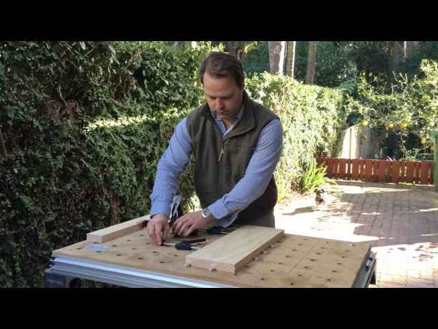 Clamping timber using AusDogs table dogs to a Festool MFT table