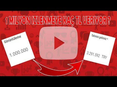 YOUTUBE 1.000.000 (1 MİLYON) İZLENMEYE KAÇ TL VERİYOR !!!!