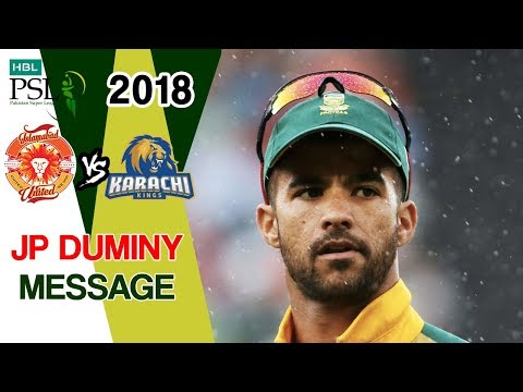 JP Duminy Interview | Karachi Kings Vs Islamabad United | Match 15 | 4th March | HBL PSL 2018
