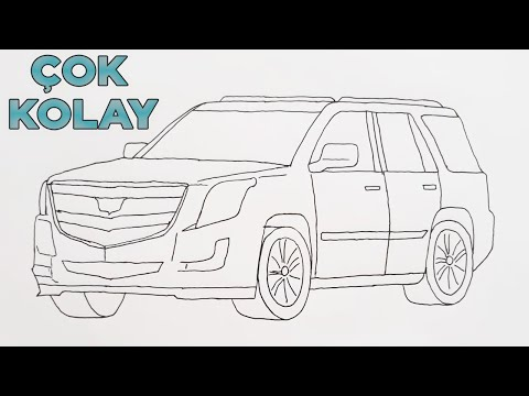 Basit Araba (JİP) Çizimi - CADİLLAC ARABA ÇİZİMİ - How to Draw a Cadillac Car