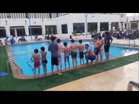 Swimming Lessons 2016 in Golden Tulip Bahrain the Swimming coach  Mr. Hussain Ali