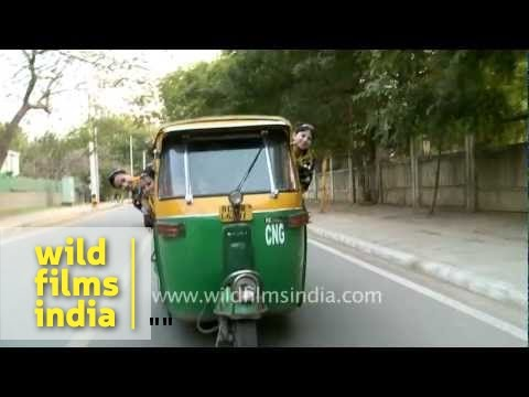 A Tuk Tuk Or Auto Rickshaw On The Streets Of Delhi India Youtube