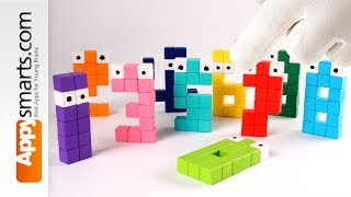 Playing with Numberjacks (numbers 0 to 9) made from construction cubes (crafts for kids)