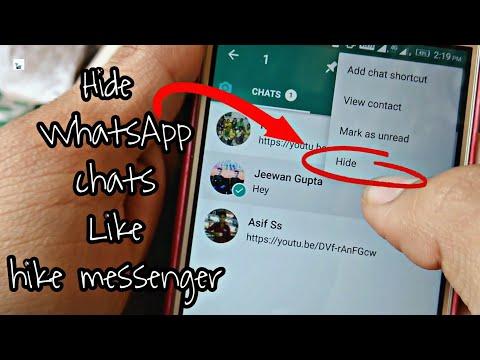 Hide WhatsApp chats like Hike Messenger!🔥
