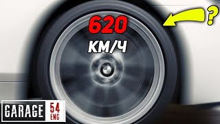 What happens to a tire at 620 km/h (385 MPH)?