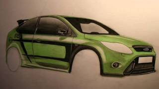 How to draw a Ford Focus RS / Zeichnung - (www.autozeichner.com)
