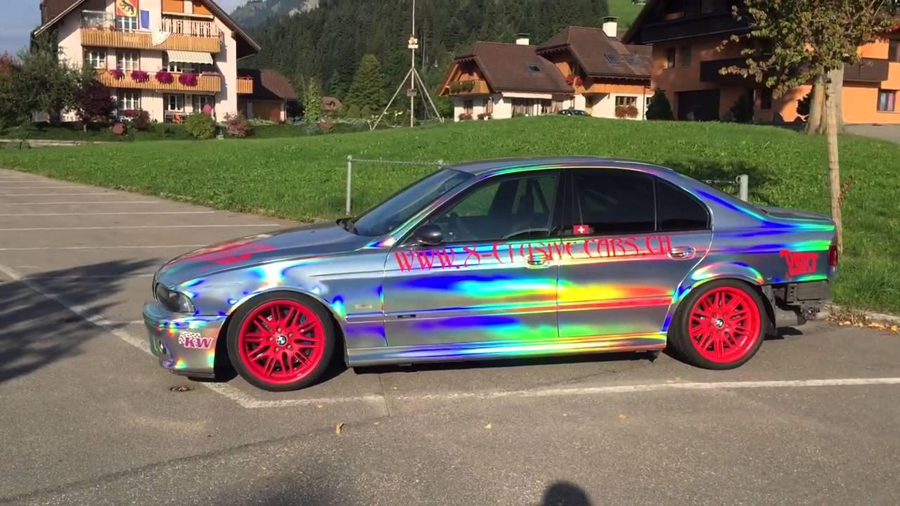 Chrome Car Wrap >> BMW M5 Holographic Wrap - Driftcar - Andreas Distel - YouTube