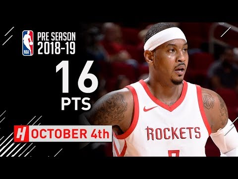Carmelo Anthony Full Highlights Rockets vs Pacers 2018.10.04 - 16 Pts, 5 Reb in 3 Qtrs!