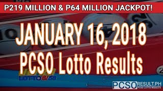 PCSO Lotto Results Today January 16, 2018 (6/58, 6/49, 6/42, 6D, Swertres, STL & EZ2)