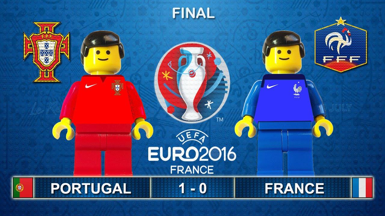 euro 2016 final portugal vs france 1 0 film in lego football highlights