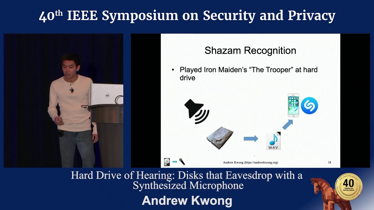 Andrew Kwong hard drive of hearing: disks that eavesdrop with a synthesized microphone