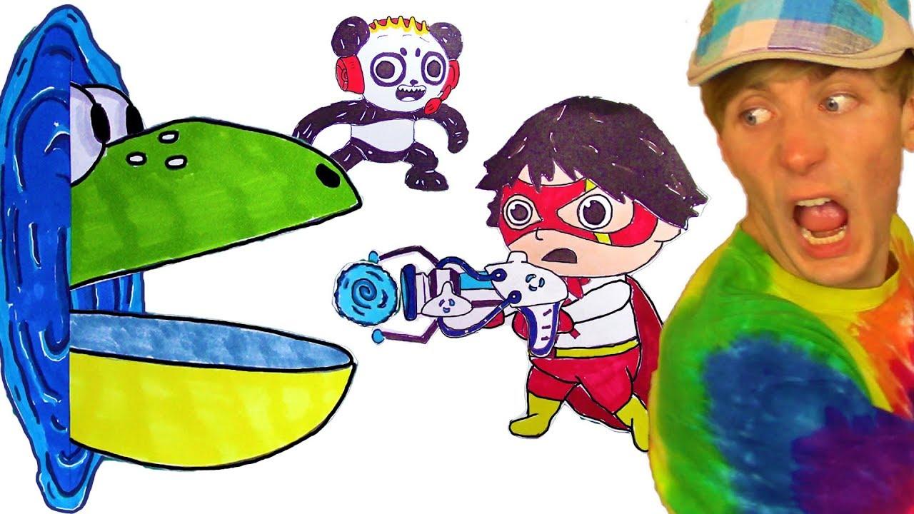pacman 😫 ryan toysreview  combo panda marker coloring