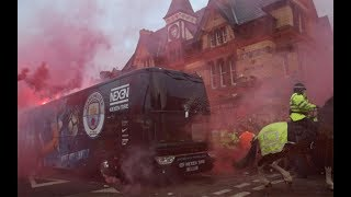 Manchester City team bus pelted with bottles and flares at Anfield for Liverpool match