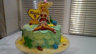 торт русалочка...трава из мастики....mermaid Cake