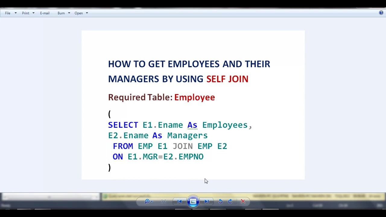 Using sql self join to join a table to itself.