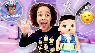 Cali Gives Her Baby Doll a Haircut | Cali's Playhouse