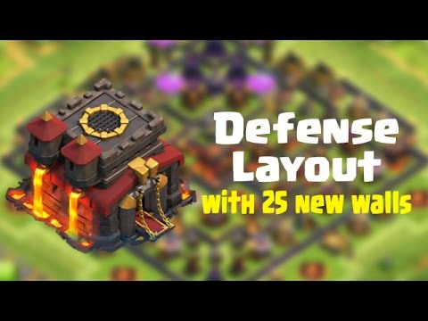 Clash Of Clans Epic Townhall 10 Layout with 25 extra walls   Defense Replays !