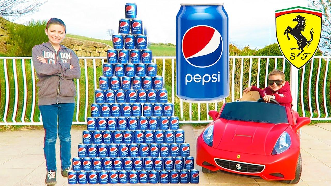 Download CRAZY PEPSI CHALLENGE vs MINI FERRARI PRANK ! Néo fait une Pyramide Géante de Canettes…