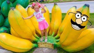Nastya و papa تعلم اسم الفاكهة العملاقة فيديو للأطفال