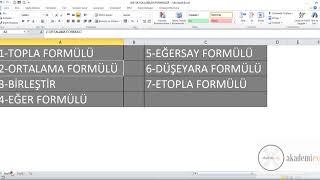 EXCEL FORMÜLLERİ - SIK KULLANILAN EXCEL FORMÜLLERİ 1 - EXCEL DERSLERİ