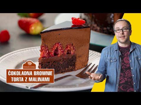 Čokoladna brownie torta z malinami