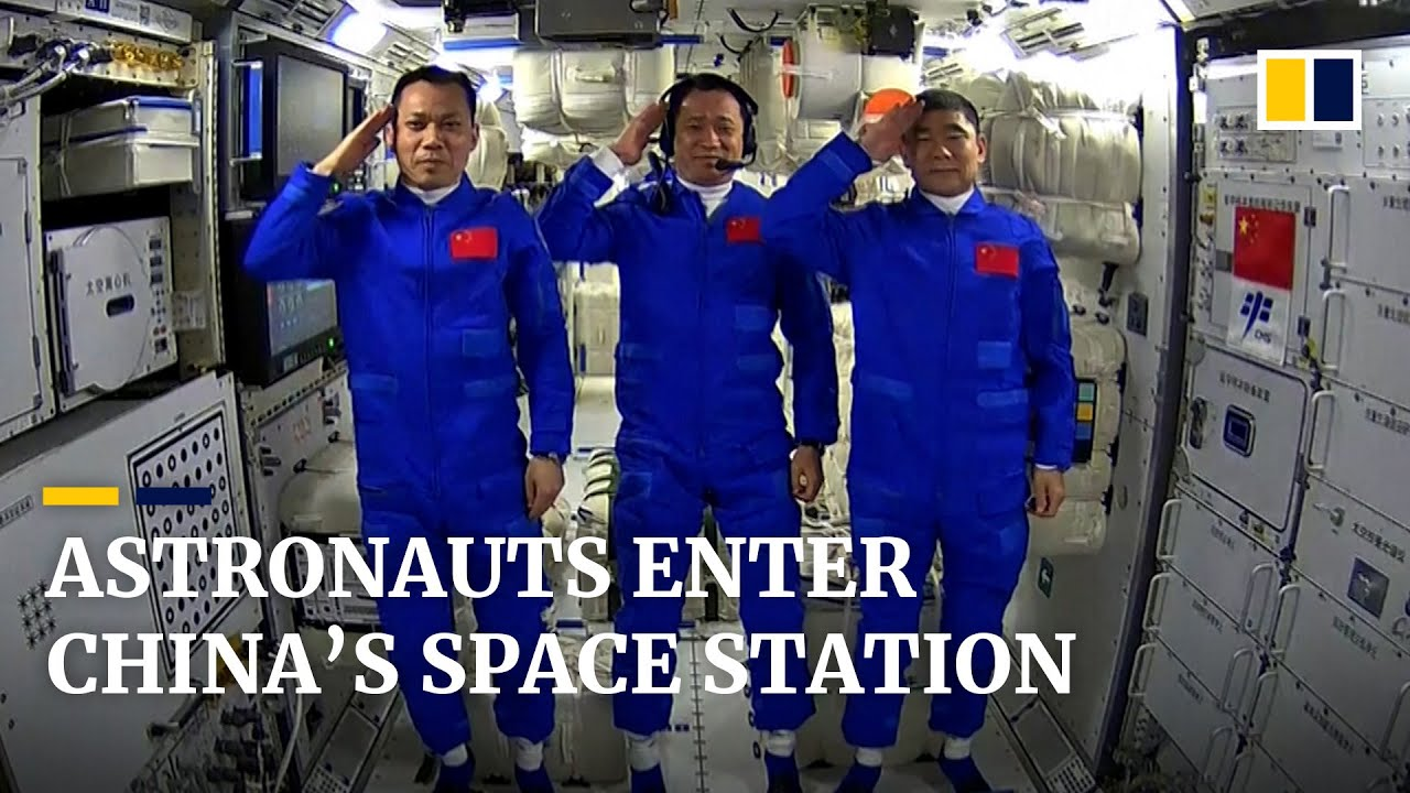 Download Chinese astronauts explore space station that will be their home for three months