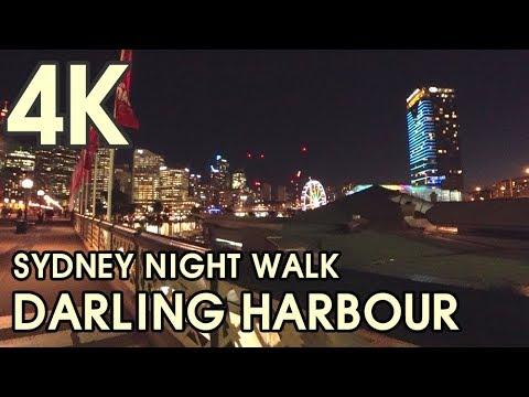 【4K UHD BEAUTIFUL SYDNEY AUSTRALIA】 Night Walking Through Darling Harbour, Pyrmont Bridge
