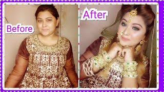 nikah makeup tutorial || step by step Glittery eye makeup