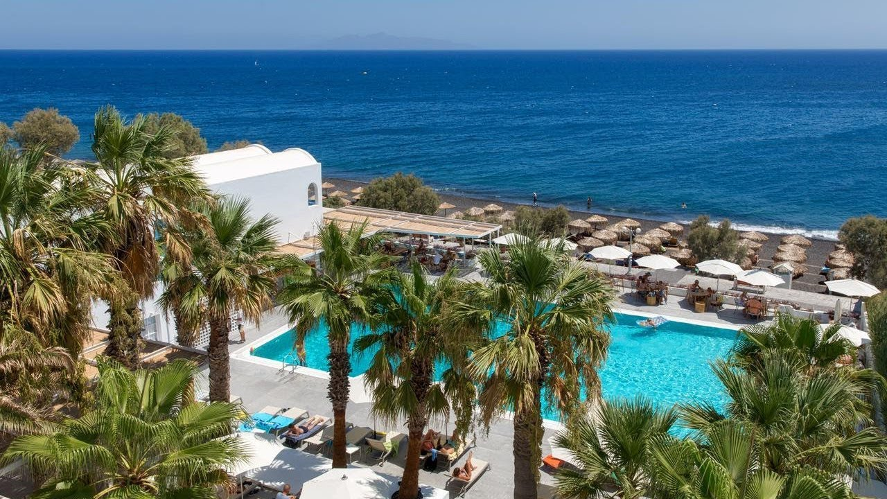 Top 10 Beachfront Hotels Resorts In Kamari Beach Santorini Greece Youtube