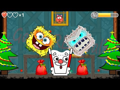 SANTA HAPPY GLASS & SPONGEBOB BOSS in 'Red Ball 4 Christmas' EPISODE 5 PERFECT 'INTO THE CAVE