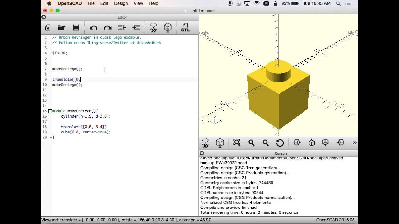 OpenSCAD - Making a Lego Block - In Class Example