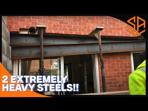 BRICKLAYING ..HOW TO .... INSTALL 2 HUGE RSJ STEEL BEAMS...EXTENSION BUILD PART 8