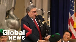U.S. Attorney General William Barr whips out the bagpipes