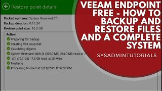 Veeam Endpoint Backup Free - Install, Backup and Restore