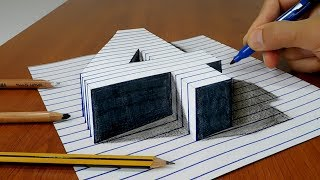 Draw a number four (4) on Line Paper   3D Trick Art