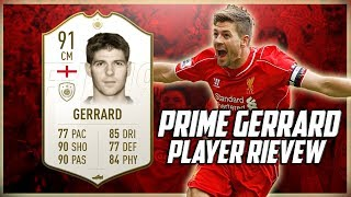 PRIME ICON STEVEN GERRARD PLAYER REVIEW - 91 RATED ICON STEVIE G GAMEPLAY IN GAME STATS AND MORE!