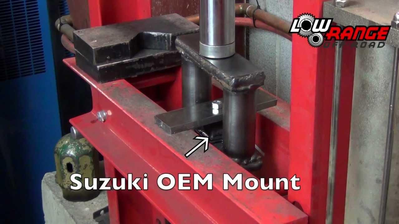 suzuki oem vs. aftermarket transfer case mount test - youtube