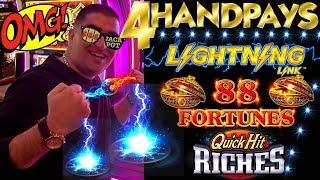 UNBELIEVABLE !! 4 Handpay JACKPOTS On High Limit Slot Machines | Lighning Link | 88 Fortuens & MORE