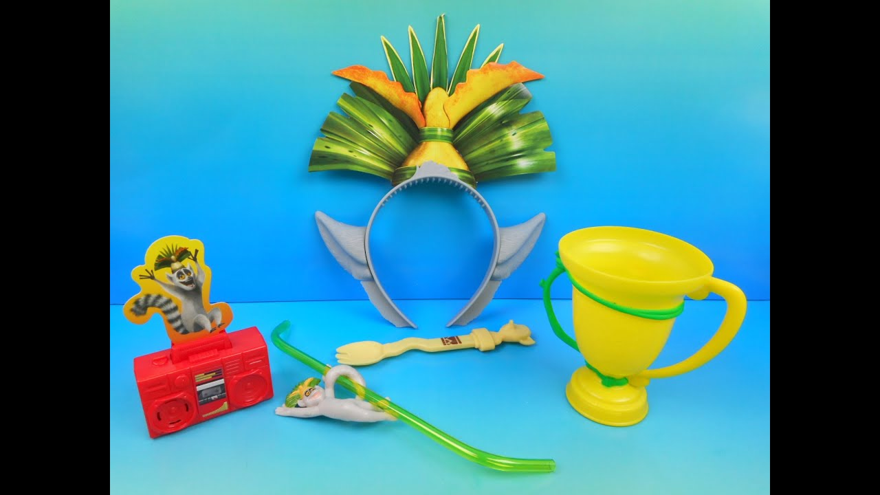 2015 ALL HAIL KING JULIEN SET OF 5 WENDY S KIDS MEAL TOYS VIDEO