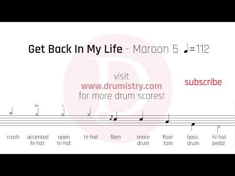 Maroon 5 - Get Back In My Life Drum Score