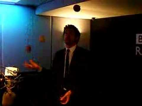 Patrick Dempsey juggling on Edith Bowman's show