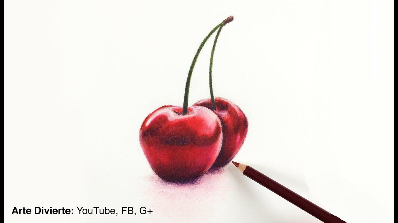 Cómo dibujar cerezas con lápices de colores - Naturaleza muerta ...